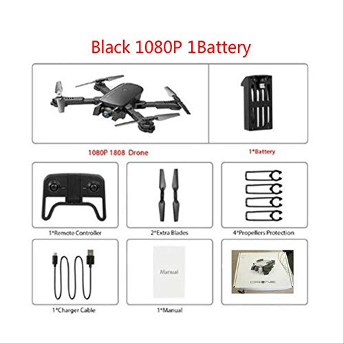 xiaozhu1218 1808 RC Drones 4k Quadcopter Profesional Mini Drone WiFi FPV Quadrocopter con Cámara Posicionamiento De Flujo Óptico Drone De Bolsillo Juguete Negro 1080P 1 Batería