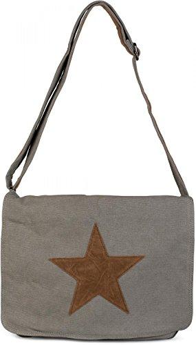 styleBREAKER Canvas Umhängetasche mit aufgenähtem Kunstleder Stern, Tasche, Unisex 02012068, Farbe:Grau