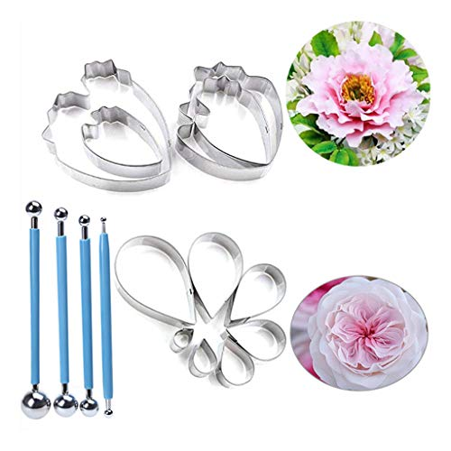 goneryisour 15 Pcs Stainless Steel Fondant Flower Modeling Tool with Rose Petal Cutter,Herbaceous Peony Cutter and Metal Ball Fondant Cake Decorating