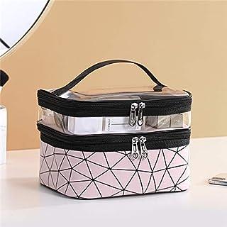 حقيبة منظمة لمستحضرات التجميل بطبقة مزدوجة مناسبة للسفر ومقاومة للماء وتناسب تخزين المكياج بشكل صندوق وردي اللون
