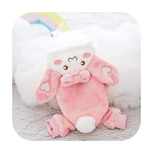 Abrigo para perro, forro polar, ropa otoo-invierno, disfraz lindo, dibujo animado para perros pequeos Chihuahua-Pink Rabbit-XXL 7.5-10 kg