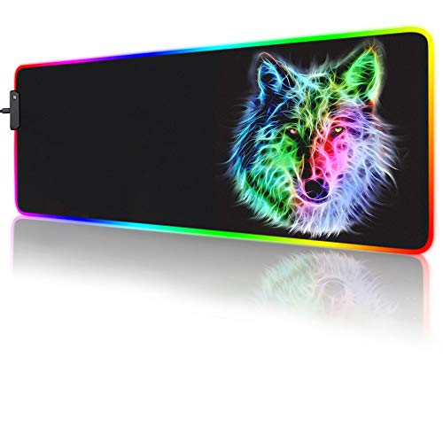 RGB Mouse Pad,Gaming Mouse Pad RGB,Cool Animal LED Mousepad-14 Light Modes Soft Non-Slip Base Large LED Mouse Mat for Laptop Computer PC Games 31.5 X 12 inches (RGB Wolf Mouse Pad)