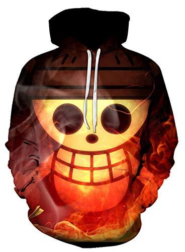 WANHONGYUE Anime One Piece Luffy Zoro Hoodie Sudadera con Capucha Cosplay Disfraz 3D Impreso Pullover Suéter con Bolsillos Cordón 17 XL