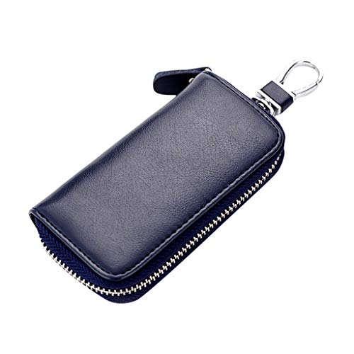 Best Price Leaf2you Unisex Keychain Key Holder Card Bag PU Leather Zipper Coin Purse Wallet