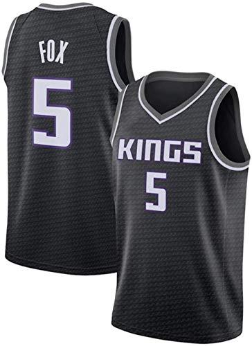 Jersey De Hombre DFFH # 5 Fox Reyes camiseta de baloncesto de los hombres, sin mangas que absorbe el sudor de baloncesto de malla chaleco, transpirable y de secado rápido camiseta de fútbol, azul, M
