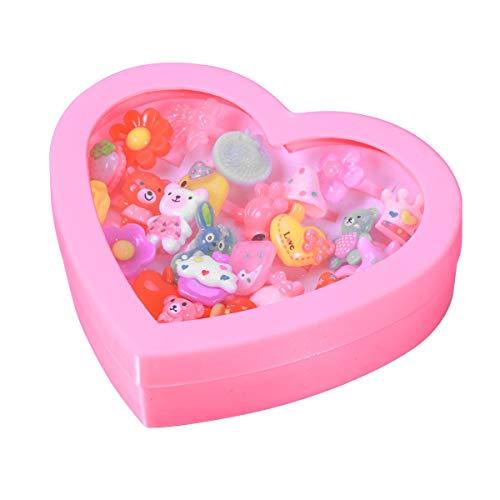 YeahiBaby Anelli Regolabili Colorati per Bambini Anelli in plastica Cristallo con Display a Forma di Cuore Custodia per Bambini Festa di Compleanno favori 24pcs(mescolare Lo Stile)