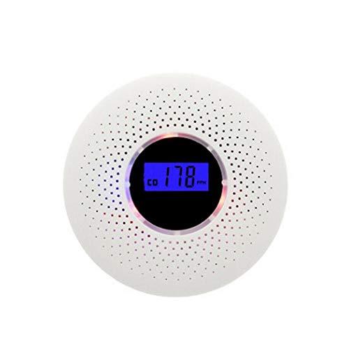 XW Detector de Humo, monóxido de Carbono sensores, Pantalla LCD, con Pilas, Sistema de Alarma de Humo con luz LED Parpadeante Sonido de Advertencia