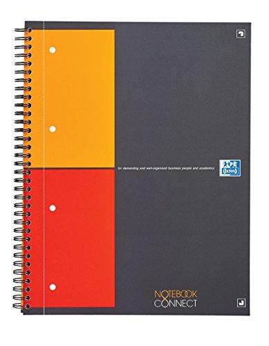 OXFORD 400055725 Notebook Connect International A4+ kariert 80 Blatt mit kostenloser App grau Spiralblock Collegeblock - clevere Organisation für Manager und Führungskräfte
