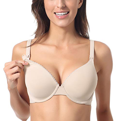 Gratlin Women's Full Coverage Lightly Padded Underwire Maternity Nursing Bra for Breastfeeding Beige 36D
