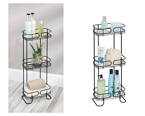 iDesign Neo Estantería, mueble de baño autónomo en metal, con tres estantes de ducha para gel y champú, negro mate, 25.4...