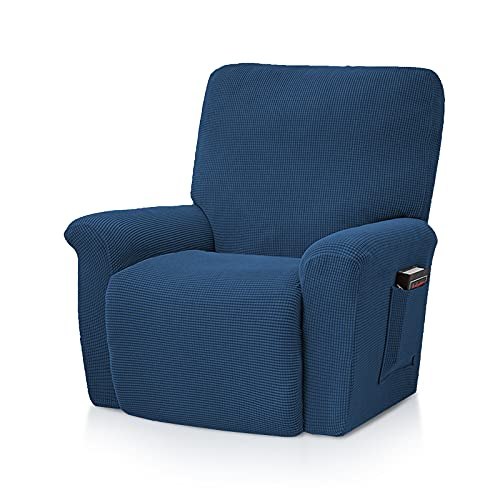 VanderHOME Funda Reclinable Elástica Funda Reclinable para, Relax Funda De Sillón Cubierta Reclinable Suave Funda De Sofá Protector De Muebles para Sillas Reclinables Sillón Azul Oscuro