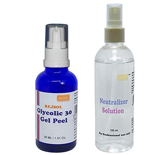 REJSOL Glycolic 30 Gel Peel, Glycolic Acid 30% 30 ml with Neutralizer 100 ml Chemical Peel, Peeling Kit