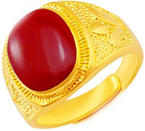 Anillo de Piedra Natural de Simulación de Aceite de Goteo de Apertura Roja para Mujeres Y Hombres Anillo sin Revestimiento Descolorido Joyería de Oro de 24 K, DTTX001