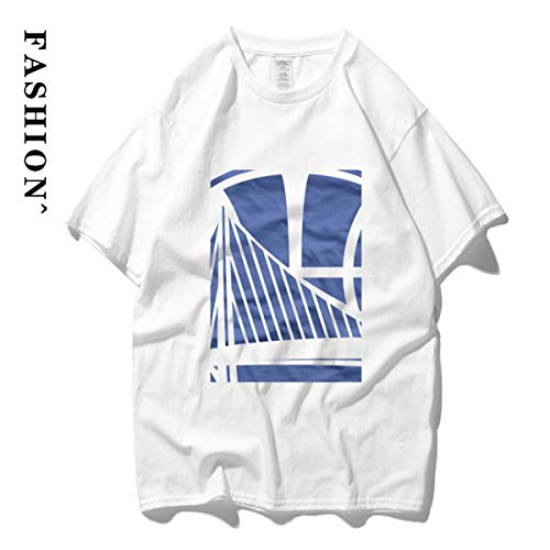 Summer Sports T-shirt, Heren ronde hals Cotton Loose Warrior Curry Thompson Half Sleeve, Straat Basketbal korte mouw, Top,H,M