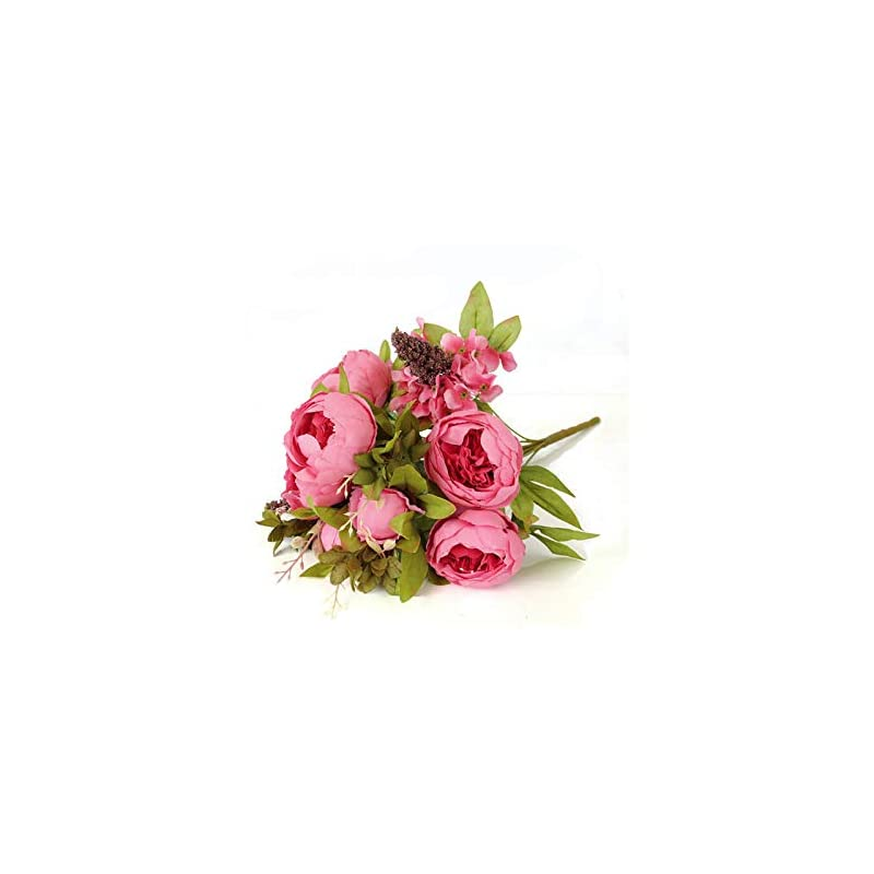 silk flower arrangements 1pc 13 heads fake peony flowers bouquet vintage artificial peony silk flowers home party decoration-rose red