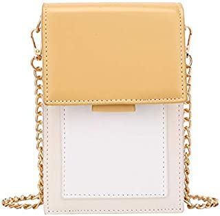 TOOGOO Contrast Small Bag Female New Fashion Simple Shoulder Messenger Bag Wild Chain Mobile Phone Bag Yellow