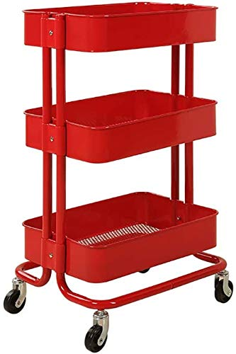 ZRABCD Trolley Service Cart Tool Salon Mobile Workbench,Band Armrest Casters Stainless Steel Multifunction Trolley,for Beauty Salon Barbershop Hotel Practical/Red / 45×35×78cm