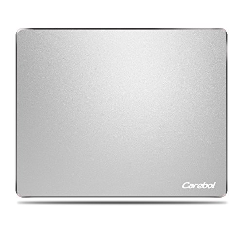 Carebol Gaming Mouse Pad. Ultra Thin Durable Waterproof Aluminum Fashion Mouse Pad with Rubber Base for Optical Mouse Laser Mouse 9.84x7.87x0.079 inches (Silver)