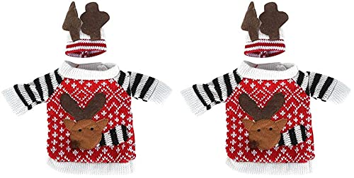 Ghlevo 2 UNIDS/Set Linda Navidad Elk Botella de Vino Cubierta de la Botella de champán suéter de Tejer para Decoraciones de Fiesta