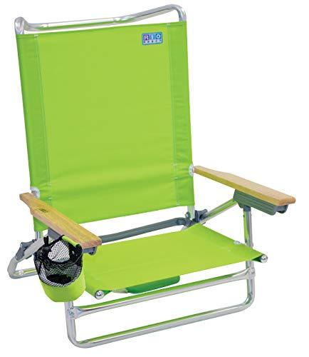 RIO beach Classic 5 Position Lay Flat Folding Beach Chair - Lime