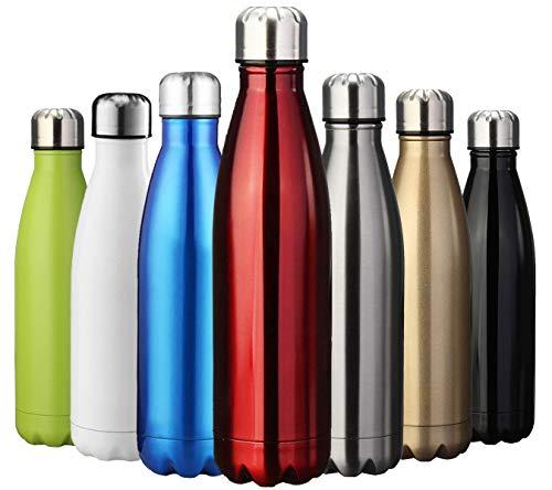 ZUSERIS Thermobecher Doppelwandige Trinkflasche Edelstahl Sportflasche Wasserflasche Camping Reisebecher Thermosflasche Haelt Getraenke 12 Stunden Kalt & 24 Heiß BPA Frei - (Rot, 500ml-17oz)