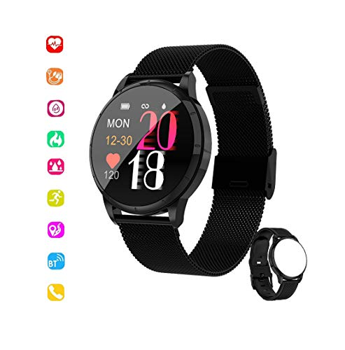 Sun West Technology Smartwatch voor dames en heren, IP67, activiteitstracker met hartslagmonitor, iOS en Android, zwart