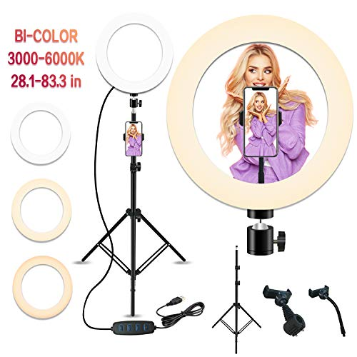 10'' LED Ring Light with Stand and Phone Holder, Peteme Selfie Halo Light for Photography/Makeup/Vlogging/Live Streaming, Compatible with Phones and Cameras