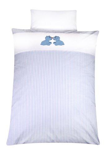 Julius Zöllner 8520110103 - Parure de lit - Housse de couette 100 x 135 cm et taie d'oreiller assortie 40 x 60 cm - Motif ourson - bleu