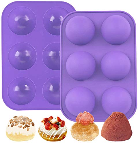 ZPOKA 2 Pack 6-Cavity Semi Sphere Silicone Mold, Baking Mold for Making Hot Chocolate Bomb, Cake, Jelly, Dome Mousse (Purple)