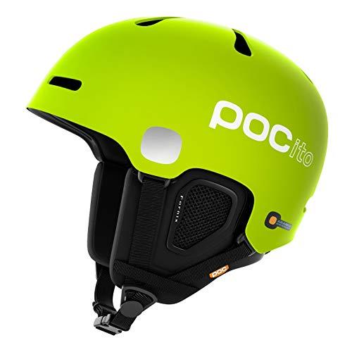 POC POCito Fornix Casco Nieve, Unisex niños, Amarillo (Fluorescent Yellow) / Verde, M-L 55-58