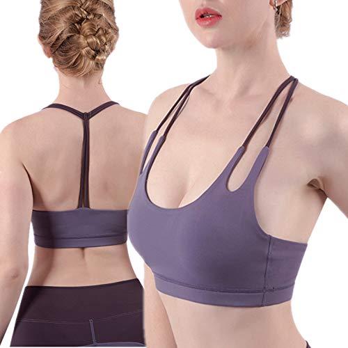 Cwang Sujetador de Encaje Sexy Sujetador Acolchado Desmontable Ropa Interior Sexy con Cuello en V,púrpura,S