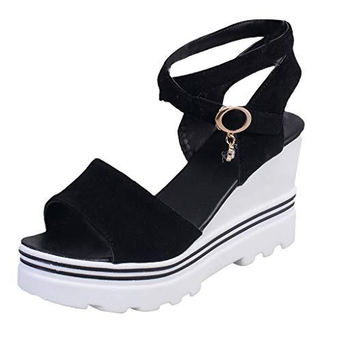 LILICHIC - Sandalias de tacón para mujer, con correa para el verano, cómodas, antideslizantes, con puntera abierta, sandalias de tacón grueso, Negro (Negro ), 38 EU