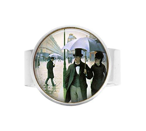 bab Belle Epoque verstellbarer Ring – Gustave Caillebotte Pariser Straße – Impressionismus – Regenschirme – Paris im Regen – verstellbarer Ring