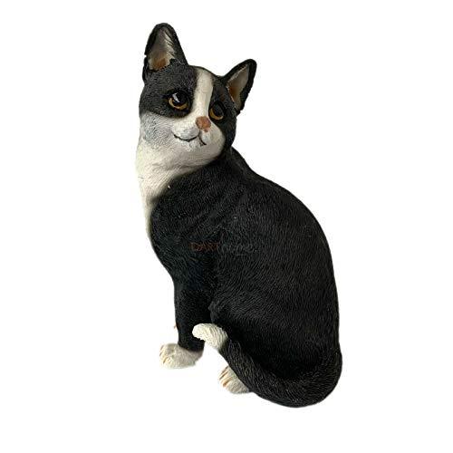 Darthome Ltd Sitting Black & White Kitten Ornament Decorative Figurine Home Cat Gift Statue 12cm