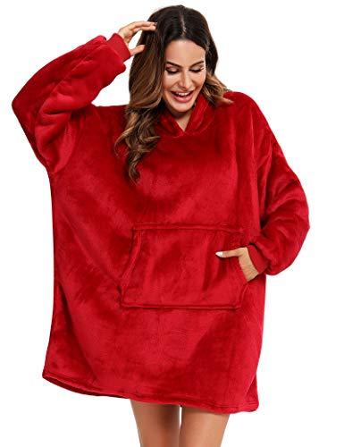 YEPLINS Übergroße Hoodie Sweatshirt, Decke Sweatshirt Damen Decken Hoodie,Plüsch Pullover Decke mit Kapuze Hoodie Blanket, Rot, Einheitsgröße