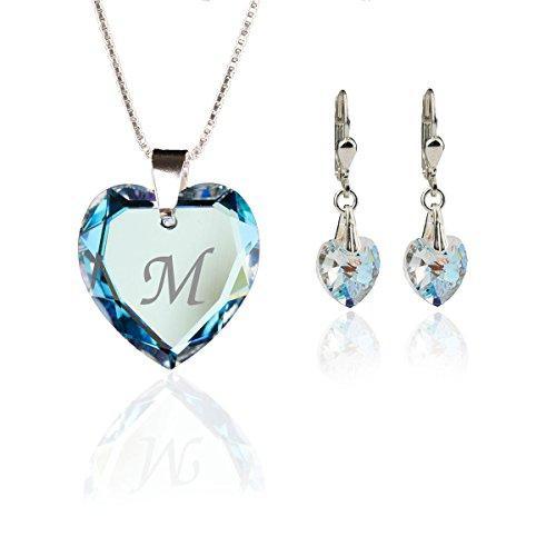 Kristallwerk Kinder Schmuckset, Kette und Ohrringe 925 Silber mit Swarovski Elements Herzanhänger Farbe Blue AB und Gravur Buchstabe M
