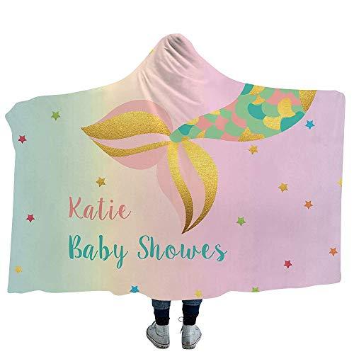 Zeemeermin Cartoon stijl serie 3D patroon pluche warme mantel, kind volwassen deken met capuchon, trein vliegtuig deken en slaapbank deken, 50