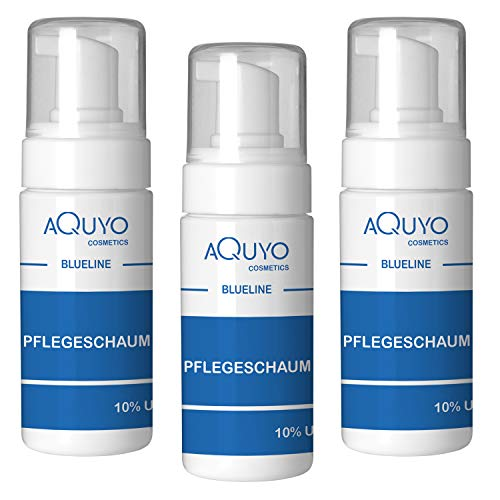 Blueline 10% Urea Schaum für sehr trockene Haut und Füße (3er Pack - 3x 100ml)   Fußschaum & Körperschaum zur Pflege für empfindliche und rissige Haut   parfümfrei, silikonfrei, parabenfrei