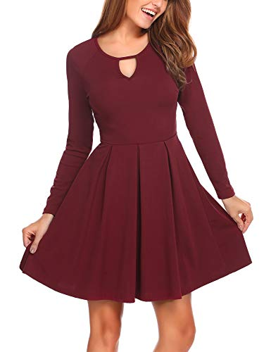 Zeagoo Women Sweatheart V Neck Fit and Flare Long Sleeve Fall Tunic Dress Wine Red, S