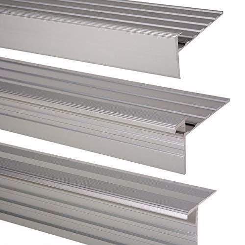 5 Stück Muster Trepsa Treppenkantenprofile | Aluminium eloxiert (Muster, Silber)