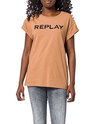Replay Damen W3525 T-Shirt, 719 Hazelnut, XL
