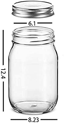 MOSTATTO Mason Jars 16 oz with Regular Lids and Bands, Canning Jars Ideal for Jam, Honey, Wedding Favors, Shower Favors, Baby Foods, Overnight Oats, DIY Magnetic Spice Jars (6 PACK)