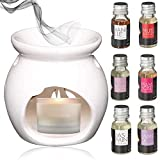 BMCC Candle Diffusore di Aroma di Candela in Ceramica con bruciatore a Olio Essenziale per Meditazione Yoga in Spa con 6 Oli Essenziali godersi Le Notti Invernali.