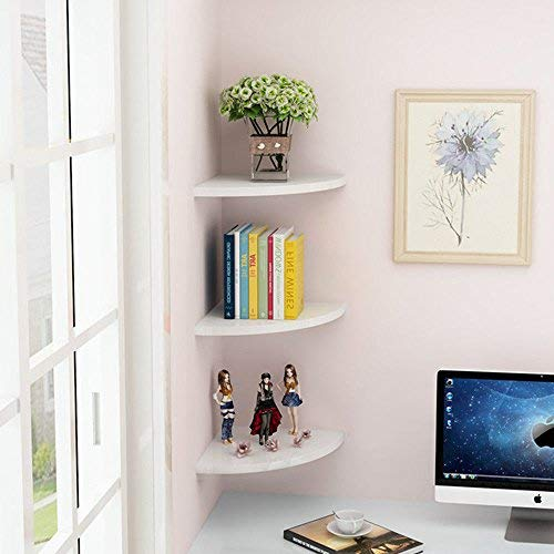 Mensole Angolari in Legno,3Pcs Floating Corner Shelf Wall-Mounted Storage Rack Bookshelves for Home And Office Decor