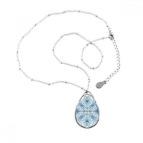 DIYthinker Halskette mit Anhänger im Talavera-Stil, blaues Deko-Muster, Tropfenform, Schmuck mit Kette, als Geschenk