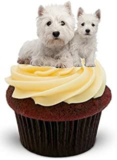 WESTIE WEST HIGHLAND TERRIER DOG & PUPPY - Fun Novelty PREMIUM STAND UP Edible Wafer Paper Cake Toppers Decoration