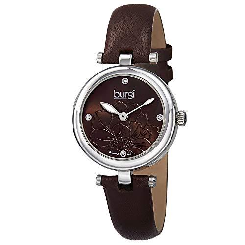 Burgi BUR128BR - Reloj de Cuarzo para Mujeres, Color Negro