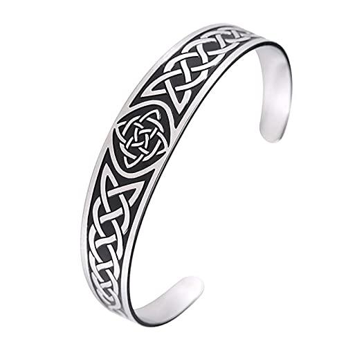 Dara Celtic Knot Bracelet - Viking Bracelet with Vintage Totem - Stainless Steel Nordic Bangle Adjustable