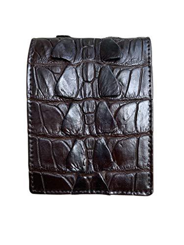 Cartera minimalista de piel de cocodrilo, piel de cocodrilo, con 100% hecha a mano de auténtica cola de cocodrilo, espinas, piel de piel de espina, diseño vintage