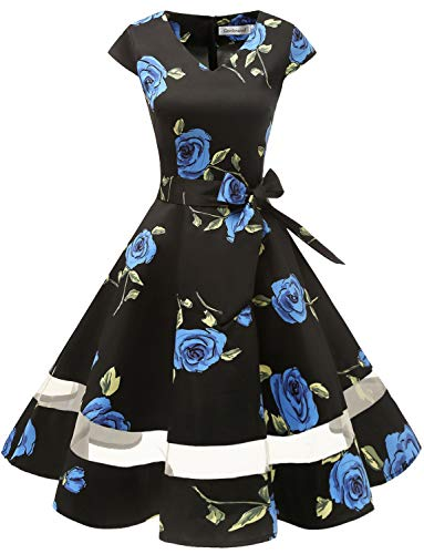 Gardenwed 1950er Vintage Retro Rockabilly Kleider Petticoat Faltenrock Cocktail Festliche Kleider Cap Sleeves Abendkleid Hochzeitkleid Blue Rose S